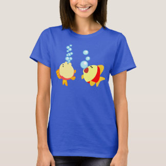 Camiseta T-shirt de borbulhagem bonito das mulheres dos