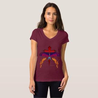 Camiseta T-shirt de desaparecimento do V-Pescoço do jérsei