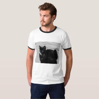 Camiseta T-shirt de dois gatos pretos, branco/preto