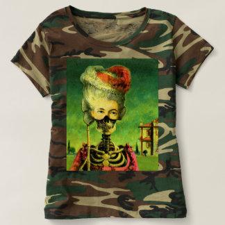 Camiseta T-shirt de esqueleto gótico da camuflagem das