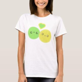 Camiseta T-shirt de Kawaii do coração do limão do limão