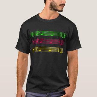 Camiseta T-shirt de néon brilhante das notas musicais