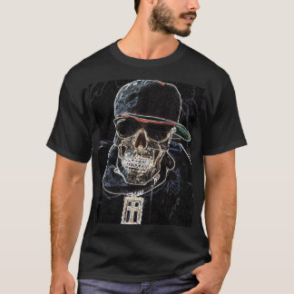 Camiseta T-shirt de néon do crânio de Hip Hop