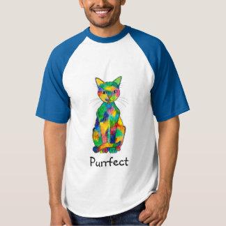 Camiseta T-shirt de Purrfect do gato do arco-íris