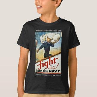 Camiseta T-shirt de recrutamento do marinho do vintage WWII