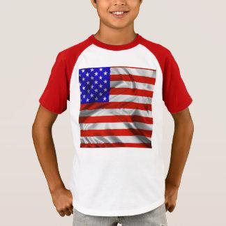 Camiseta T-shirt de seda da bandeira dos EUA da bandeira