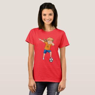 Camiseta T-shirt de toque ligeiro da menina do futebol