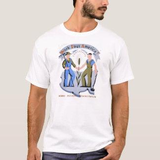 Camiseta T-shirt de WPA do vintage: O trabalho paga América
