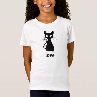 Camiseta T-shirt do amor do gato preto dos miúdos