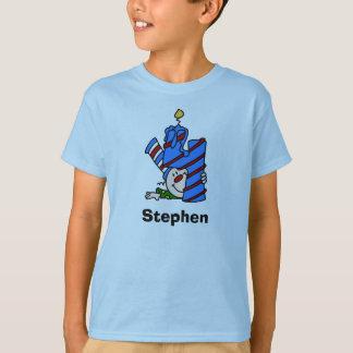 Camiseta T-shirt do aniversário do palhaço azul 4o