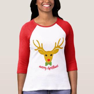 Camiseta T-shirt do arco do bastão de doces da rena do ouro