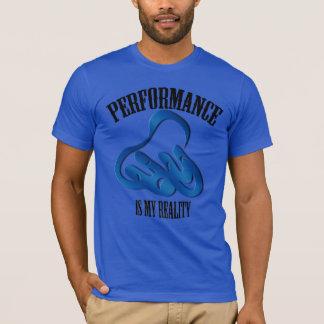 Camiseta T-shirt do azul da realidade do desempenho da