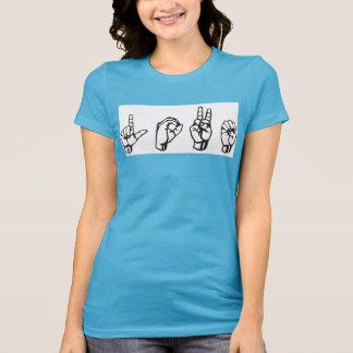 Camiseta T-shirt do azul do ASL do amor