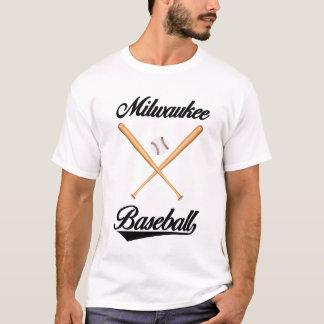 Camiseta T-shirt do basebol de Milwaukee para homens e