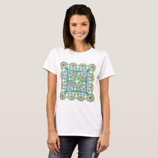 Camiseta T-shirt do Bordado-Estilo das penas dos pavões