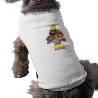 Camiseta T-shirt do cão da árvore de Natal de Steampunk