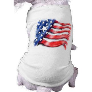 Camiseta T-shirt do cão - design americano da bandeira dos