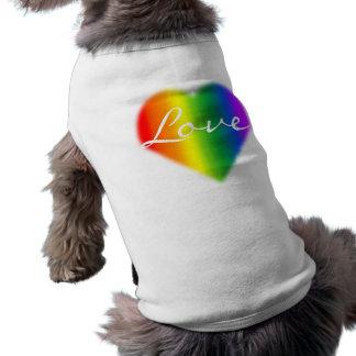 Camiseta T-shirt do cão do amor LGBT do arco-íris da