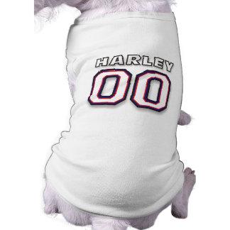 Camiseta T-shirt do cão - HARLEY do NOME - jérsei de 00