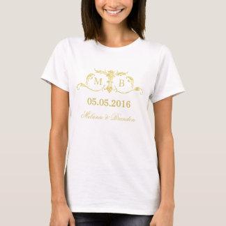 Camiseta T-shirt do casamento do monograma do ouro