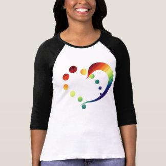 Camiseta T-shirt do coração do arco-íris do orgulho
