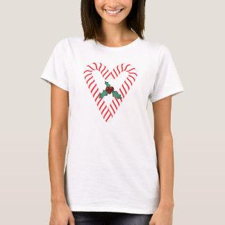 Camiseta T-shirt do coração do bastão de doces
