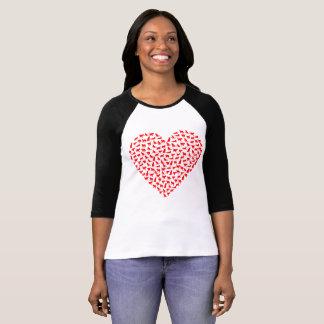 Camiseta T-shirt do coração do gato do dia dos namorados