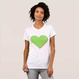 Camiseta T-shirt do coração do rosa do verde limão dos