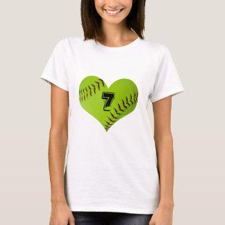 Camiseta T-shirt do coração do softball