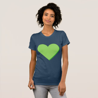 Camiseta T-shirt do coração do verde do verde limão dos