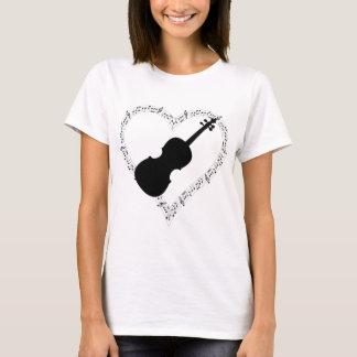 Camiseta T-shirt do coração do violino