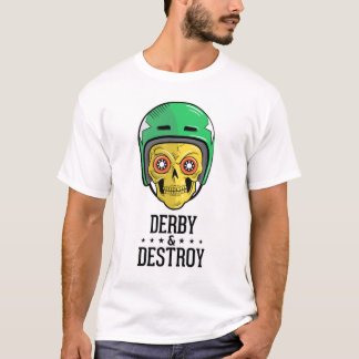 Camiseta T-shirt do crânio de Derby do rolo