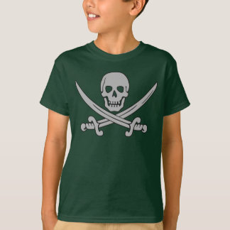 Camiseta T-shirt do crânio do pirata & do miúdo das espadas