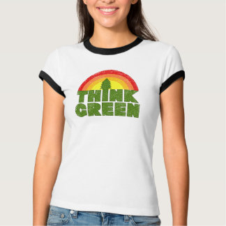 Camiseta T-shirt do estilo do vintage do pense verde