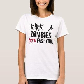 Camiseta T-shirt do fast food do ódio dos zombis das