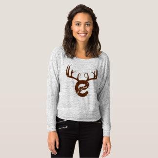 Camiseta T-shirt do Fora-Ombro de Flowy dos cervos de Yeg