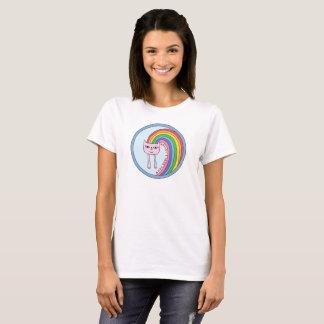 Camiseta T-shirt do gato do arco-íris para mulheres