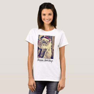 Camiseta T-shirt do gato persa boas festas