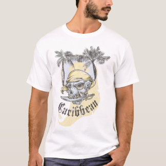 Camiseta T-shirt do Grunge do crânio do pirata do vintage