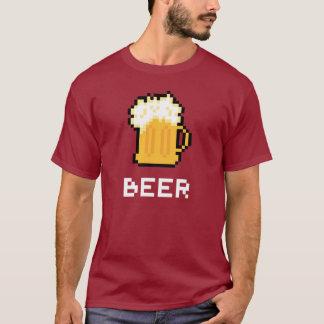 Camiseta T-shirt do ícone do pixel da cerveja