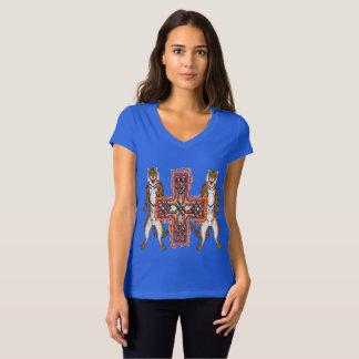 Camiseta T-shirt do jérsei do V-Pescoço das senhoras da
