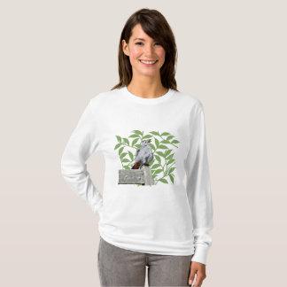 Camiseta T-shirt do L/S das mulheres de canto do Catbird