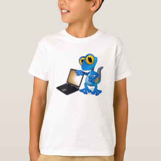 Camiseta t-shirt do lagarto do laptop