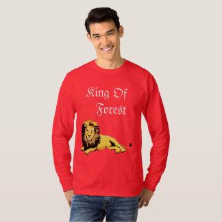 Camiseta T-shirt do leão da cor vermelha