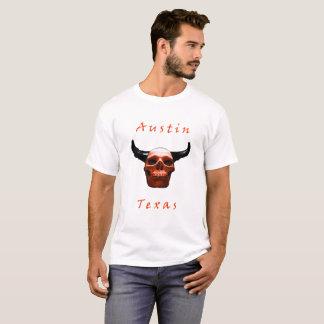 Camiseta T-shirt do Longhorn-Crânio de Austin Texas o Dia