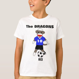 Camiseta T-shirt do macaco da peúga do futebol (azul) -