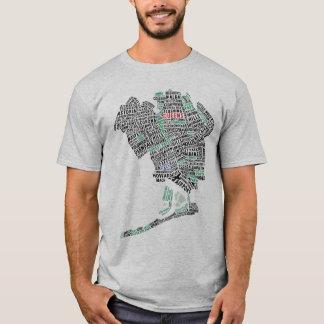 Camiseta T-shirt do mapa da tipografia do Queens New York