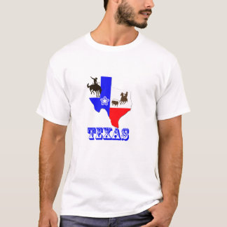 Camiseta T-shirt do mapa do estado de Texas com vaqueiro