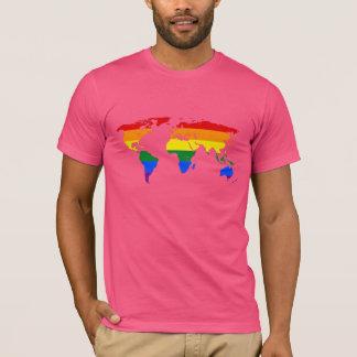 Camiseta T-shirt do mapa do mundo do orgulho de LGBT