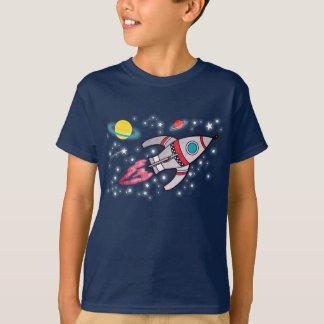 Camiseta T-shirt do marinho dos meninos do espaço de Rocket
